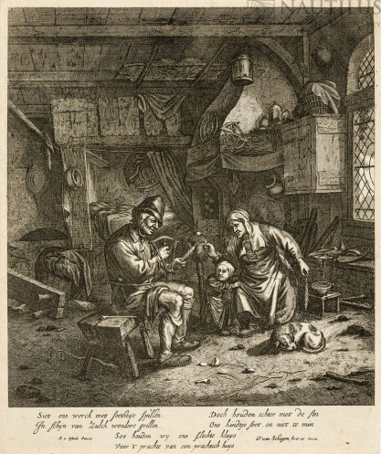 Gerrit Lucas  van Hagen, Adriaen van Ostade, Chłopska rodzina przędząca wełnę