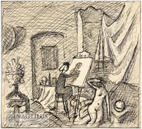 Mała malarka, lata 40. XX w.
