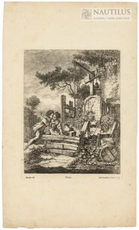 Zakochani wieśniacy. Scena miłosna przy starej studni, XVIII w.