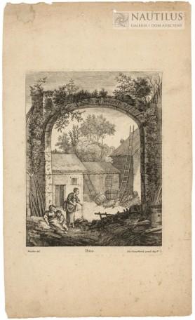 Stary kamienny łuk, wiejska zagroda, dwie wieśniaczki i dziecko, XVIII w.