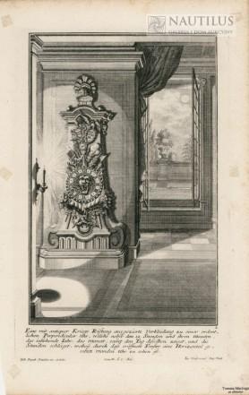 Wnętrze pałacowe,  stojący zegar barokowy,  zegar księżycowy i  księżyc], 1734