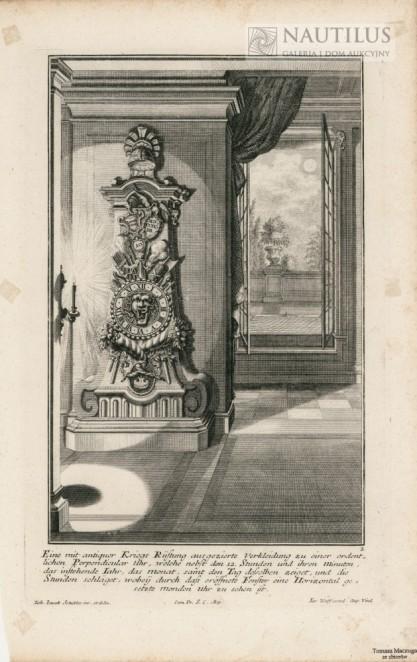 Johann Jacob SCHÜBLER, Wnętrze pałacowe,  stojący zegar barokowy,  zegar księżycowy i  księżyc]