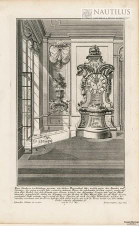 Wnętrze pałacowe, stojący zegar barokowy, zegar słoneczny], 1734