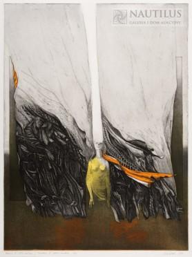Podróżni VI – żółta zasłona, 1971