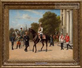 Pruski następca tronu wśród żołnierzy Korpusu Gwardii, 1885
