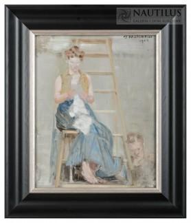 Malarz i modelka [na drabinie], 1904