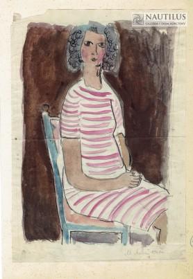 Kobieta w pasiastej sukience, 1947