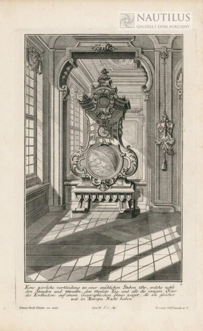 Johann Jacob SCHÜBLER, Wnętrze pałacowe,  zegar stojący na tle lustra