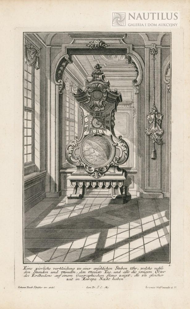Wnętrze pałacowe,  zegar stojący na tle lustra