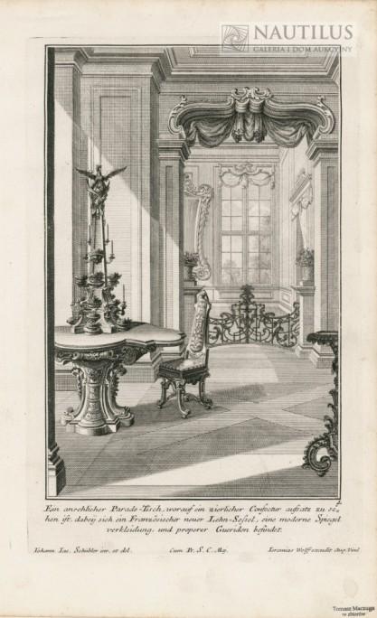Johann Jacob SCHÜBLER, Wnętrze pałacowe, ozdobny stół, francuskie krzesło confectur gerydon]