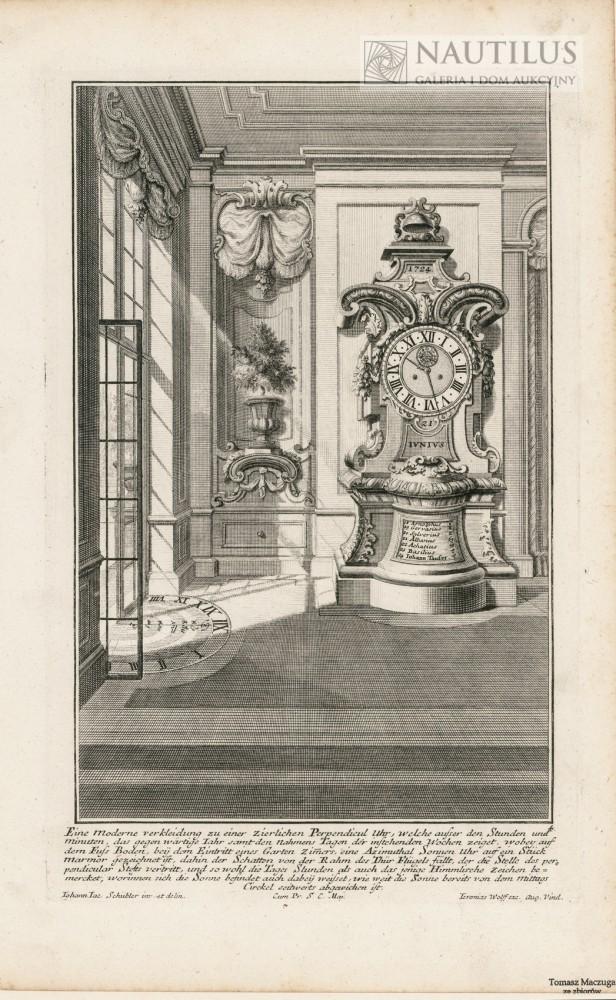 Wnętrze pałacowe, stojący zegar barokowy, zegar słoneczny]