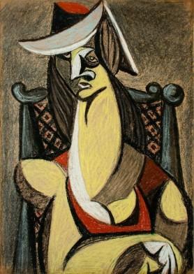 Kobieta w kapeluszu, l. 40. XX w.