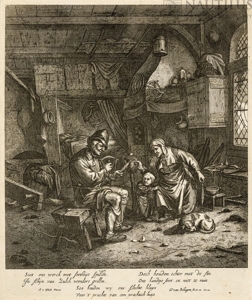 Chłopska rodzina przędząca wełnę