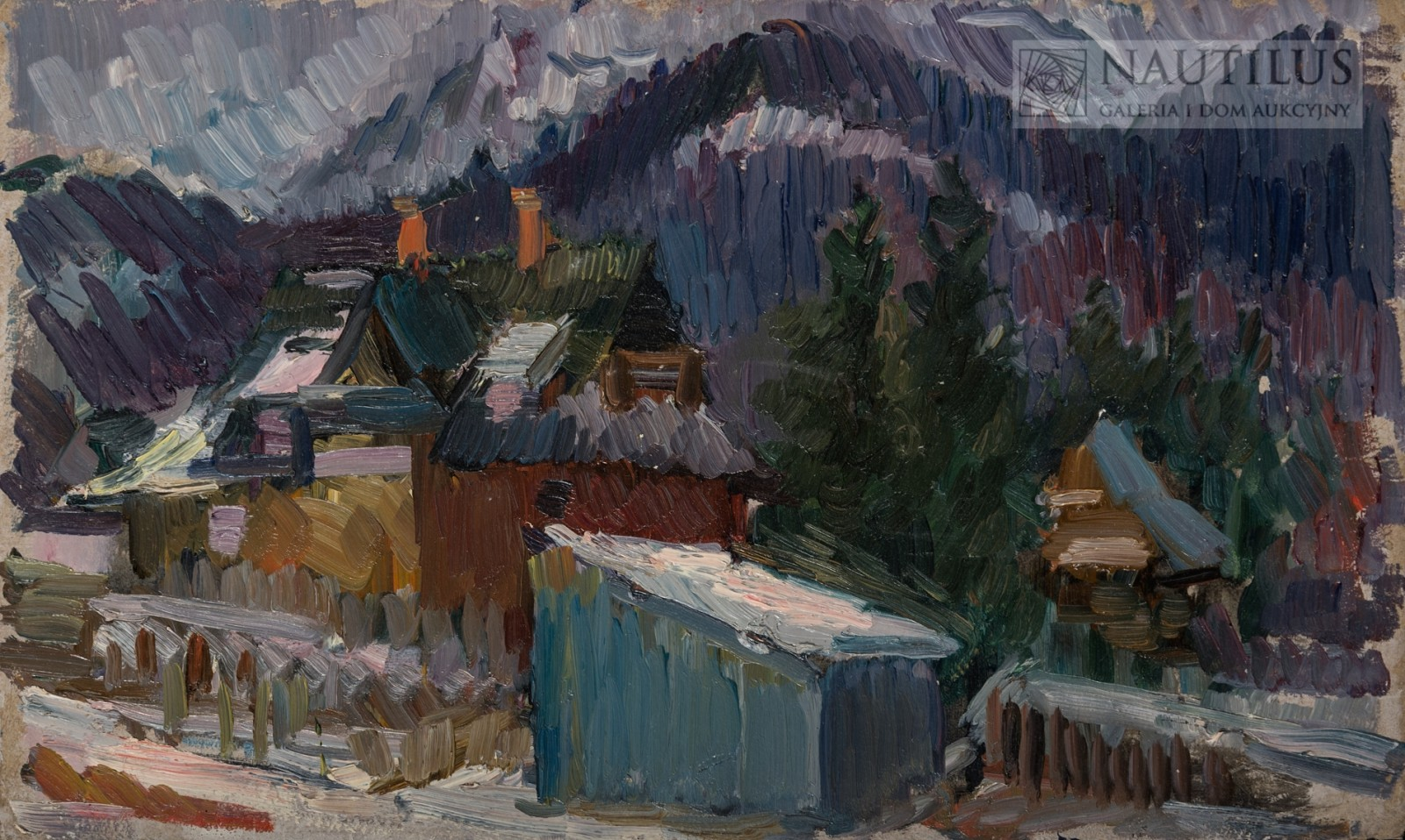 Pejzaż z górskimi chatami