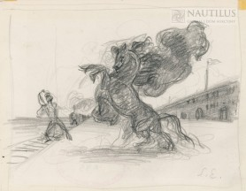 Mężczyzna poskramiający konia, lata 30. XX wieku