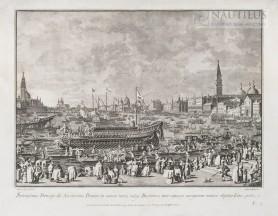 Doża na tzw. złotej galerze (Bucintoro) odpływa w kierunku San Nicolo del Lido, 1763