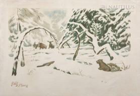 Las w zimie z łosiami i niedźwiedziami, 1919 - 1920