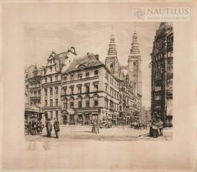 Wrocław, widok z Rynku na wieżę kościoła św. Marii Magdaleny, 1919