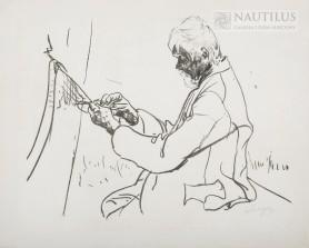Rybak przy naprawie sieci, 1912
