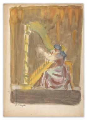 Harfistka, lata 40. XX wieku