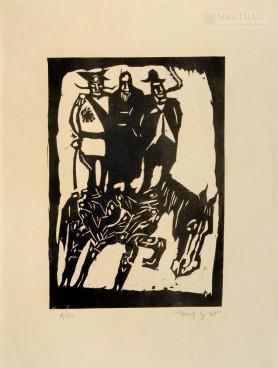 """Trzej na koniu (z cyklu """"Judaica""""), 1965"""