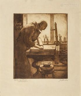 Profesor Leon Wyczółkowski w swojej pracowni, 1925