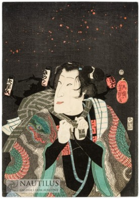 Kawarazaki Gonjuro I jako kobieta uciekająca z płonącego domu, 1860