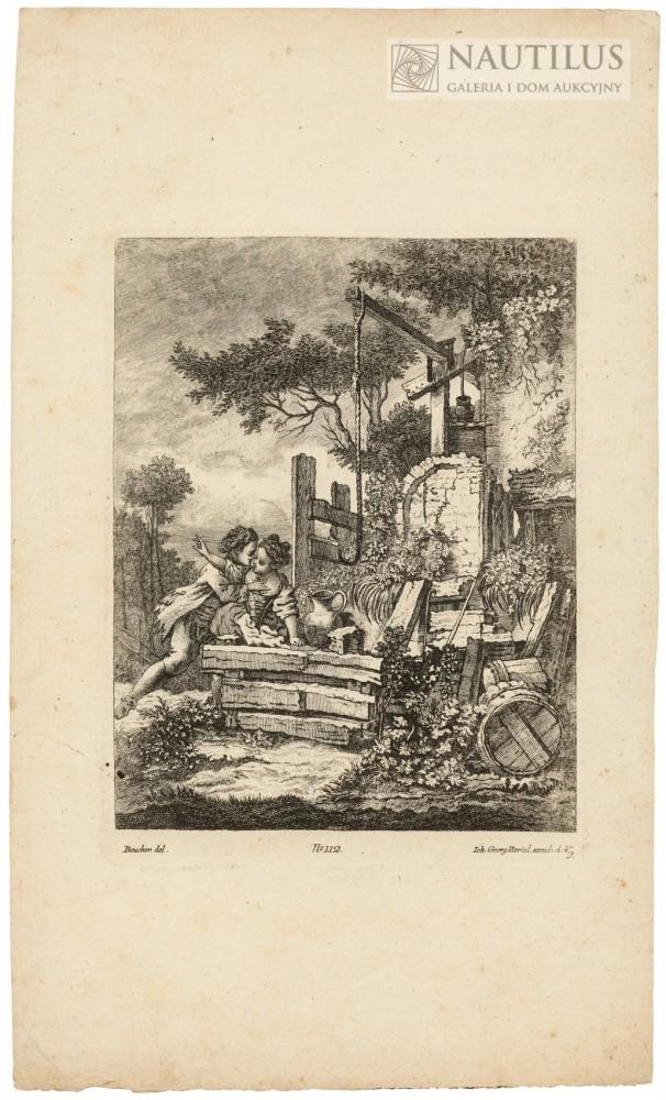 Zakochani wieśniacy. Scena miłosna przy starej studni