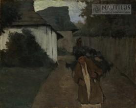 Pasterz wychodzący ze stadem ze wsi, 1906