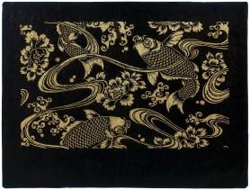 Karpie Koi pośród fal i kwiatów peoni, XVIII - XIX w.