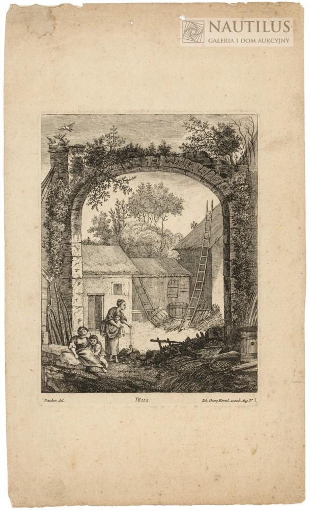 Stary kamienny łuk, wiejska zagroda, dwie wieśniaczki i dziecko