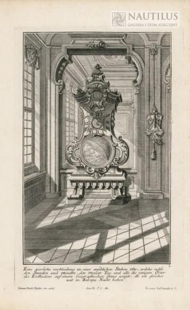 Wnętrze pałacowe,  zegar stojący na tle lustra, 1734