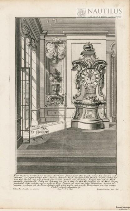 Johann Jacob SCHÜBLER, Wnętrze pałacowe, stojący zegar barokowy, zegar słoneczny]