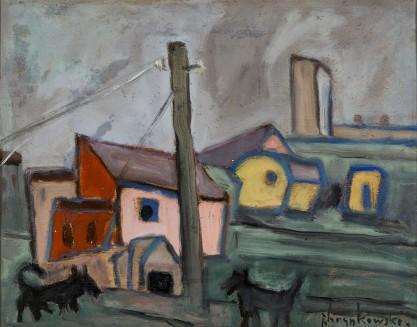Jan Hrynkowski, Pejzaż wiejski z psami