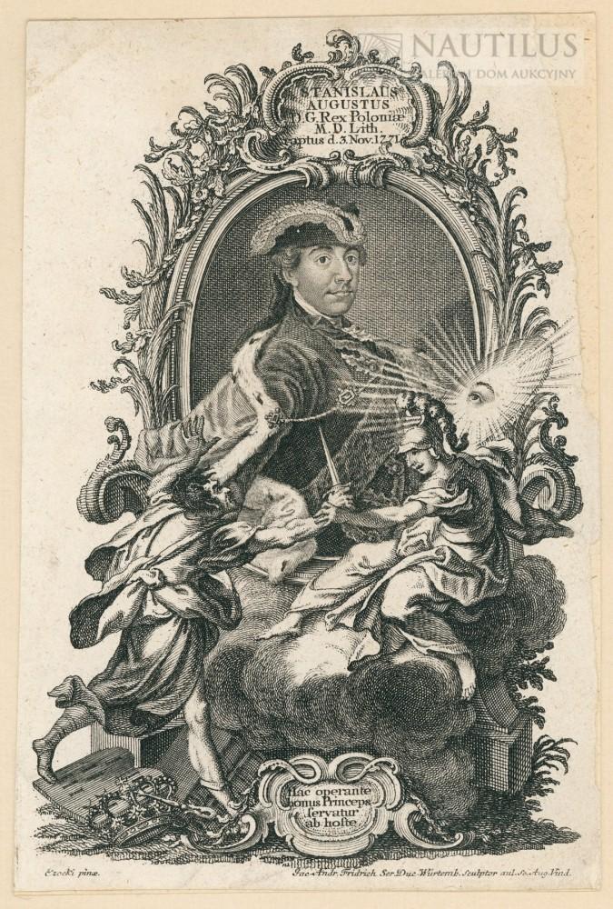 Portret Stanisława Augusta Poniatowskiego z symboliczną sceną porwania przez konfederatów barskich