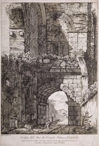 Luigi Rossini, Veduta dell'Arco dei Consoli Silano e Dolabella