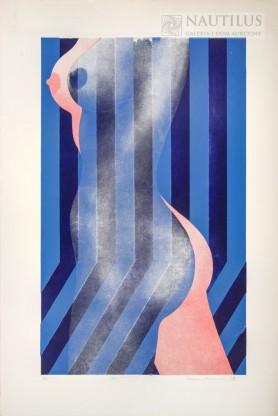 Nago i w ubraniu (niebieski), 1973
