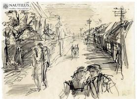 Uliczka na przedmieściu, lata 50. XX wieku