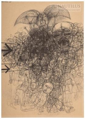 Kompozycja z sową i ludzkim tłumem, 1965