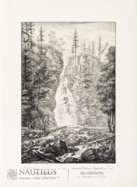 Widok wodospadu Bóktowica we wsi Pasieczna w cyrkule stanisławowskim, 1823