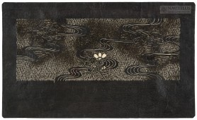 Katagami: Kwiaty wiśni nad strugami wody przecinającymi trawiastą łąkę, XIX w.