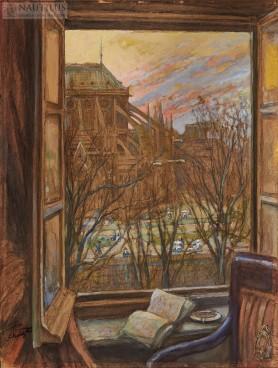 Widok z okna na Katedrę Notre Dame w Paryżu, ok. 1912