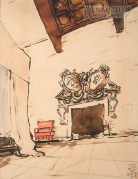 Wnętrze zamkowe z kominkiem, 1927