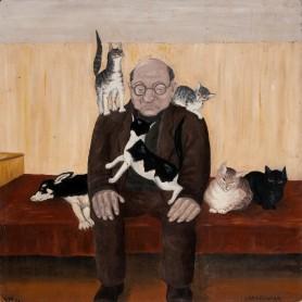 Jan Stobierski z kotami, 1966